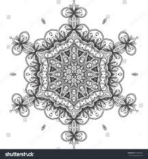 abstract mandala snowflake line art design stock vector 515095006