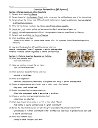 evolution review sheet 17 5 points