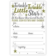 twinkle twinkle baby shower invitations twinkle twinkle baby shower invitations 20 count