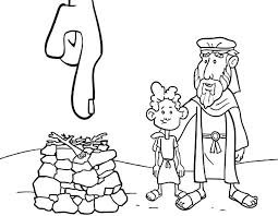 god pointed place abraham sacrifice isaac coloring pages