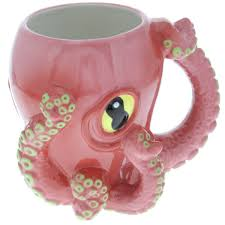amazing pink octopus ceramic 3d coffee mug with tentacle handle 71