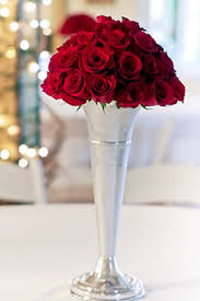 Tall Red Vases Cheap Red Rose In Silver Trumpet Vase Birthday Pinterest Silver