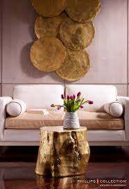 gold leaf home decor phillips collection galvanized wall decor and log collection