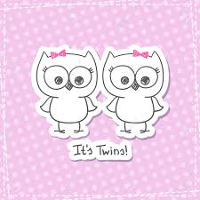 pink owl baby shower invitations vector little owls twins baby shower invitation template royalty