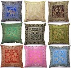 Indian Home Decor Online Usa Amazon Com 10 Pc Lot Square Silk Home Decor Cushion Cover Indian