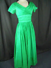 clifton wilhite vtg 60s emerald green chiffon dress w bows at back