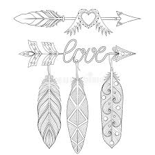 coloring pages of indian feathers bohemian love arrows set with feathers for adult coloring pages