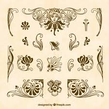 brown ornaments collection vector free
