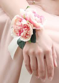 wedding wrist corsage pink cabbage wrist corsage silk wedding flowers afloral