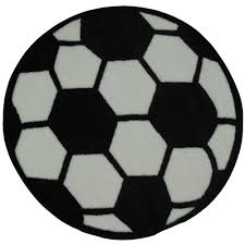Black And White Throw Rugs La Rug Fun Time Shape Soccerball Black And White 39 In Round Area