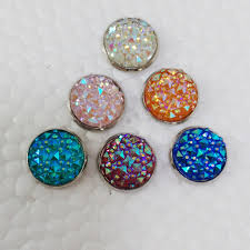 druzy stud earrings 12prs lot 12mm rhodium color white pink orange blue druzy