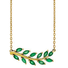 emerald gold necklace images Emerald leaf necklace in 14k yellow gold sam 39 s club