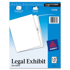 avery 11370 premium collated legal exhibit dividers 26 x divider s