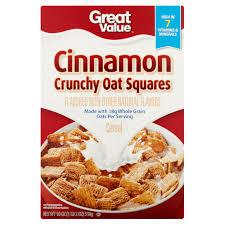 Breakfast Food Cereal Walmart Com by Great Value Cinnamon Crunchy Oat Squares Cereal 18 Oz Walmart Com