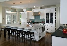 homey white kitchen ideas with awesome big gray pendant lamps and