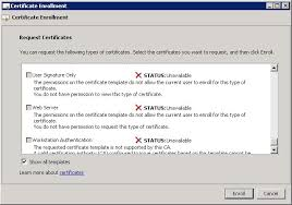 enable web server certificate requests on windows server 2008r2 ca