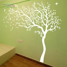 White Tree Wall Decal Nursery Space Tree Wall Sticker White Tree Wall Decals