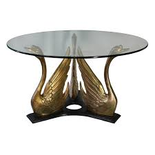 brass swan coffee table hollywood regency style glass top coffee table with brass swan trio