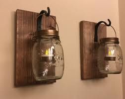 Jar Candle Wall Sconce Mason Jar Sconces Etsy