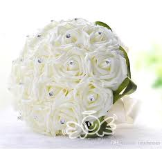 cheap flowers free delivery 2015 new wedding bridal bouquet white silk pearls