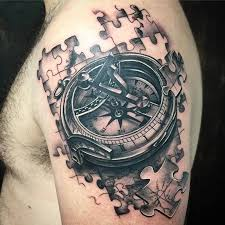 tattoo compass realistic realistic compass with jigsaw pieces in black and gray