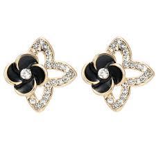 trendy gold earrings aliexpress buy girl gifts new black flower stud
