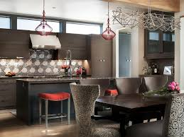 small under cabinet lights clerestory windows red bar stools pendant lights accents wood beam