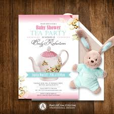 printable baby shower invitation tea party diy pink editable