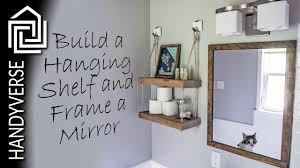 how to frame a mirror and build a hanging shelf budget renos 05