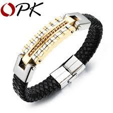 black bracelet men images Opk black leather bracelet men charm bangle stainless steel jpg