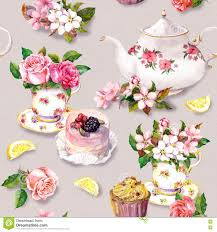 teatime pattern flowers teacup cake teapot watercolor