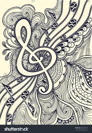 zendoodle treble clef notes musical stanza stock vector 406468126
