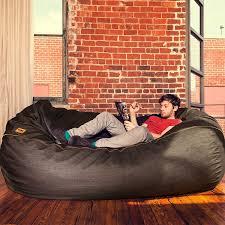 home theater bean bag chairs amazon com jaxx 7 ft giant bean bag sofa black denim kitchen