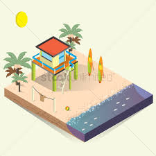 free isometric beach house vector image 1540822 stockunlimited