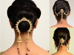 bun accessories indian bridal hairstyles low bun with lovely hair accessories