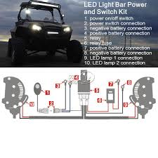 universal led driving light bar harness kit with mouse style