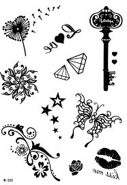 design tattoo butterfly temporary black henna tattoo butterfly kiss dandilion stars