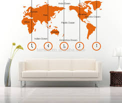 world map and time zone large wall sticker decal tv sofa