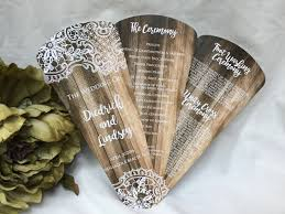 wedding programs rustic rustic wooden lace petal fan wedding program the wedding