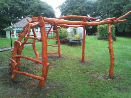 organic bushcraft shelter climbing frame for yeo valley by