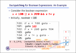 backpatching for boolean expressions an example for boolean