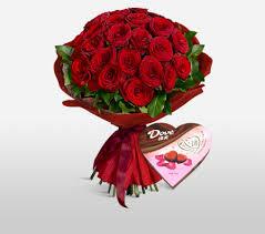 flowers international emperors extravagance bunch of 2 dozen roses chocolates