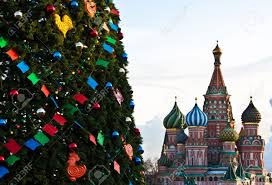 detail of a christmas tree from the red square moscow stock