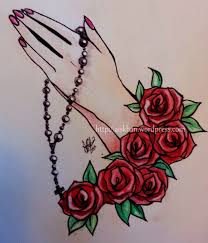 roses and nail bottle portrait tattoos for