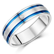 7mm diamond 7mm men s titanium diamond blue inlay engagement wedding ring