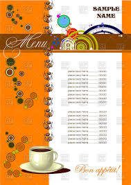 template of cute cafe menu with cup of coffee royalty free vector