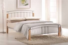 Beech Bed Frame Time Living Tetras Silver And Beech Metal Bed Frame
