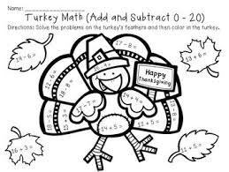 printable thanksgiving coloring pages for math subtract