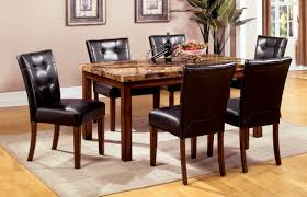 furniture of america tenza 7 piece dark oak set with faux marble top