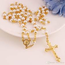 gold rosary 2018 white pearl necklace gold rosary bead chain religious jesus
